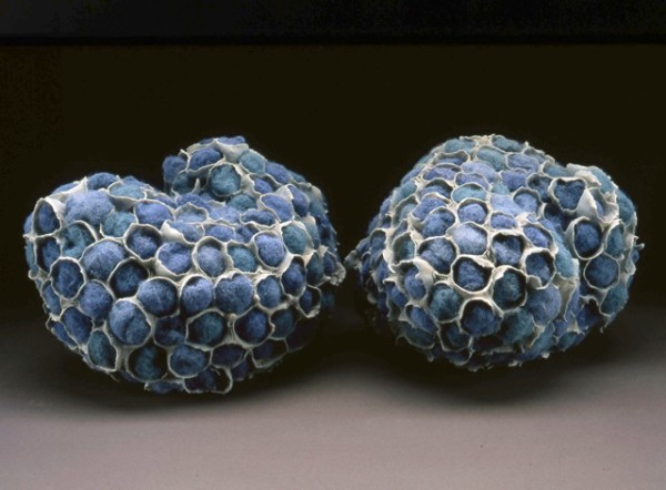 """Objected Blue, Cone 10 Oxidation, Porcelain 6 1⁄4 """" X 18"""" X 10"""" March 2004"""