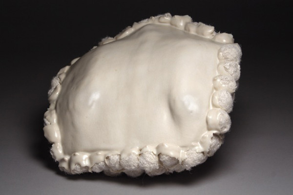 """Objected White, Porcelain and Stains, 8"""" x 9"""" x 9"""", 2009"""