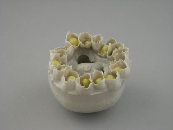 "Echinoderm Object, Yellow/White 3"" X 4"" X 4"" 2009"