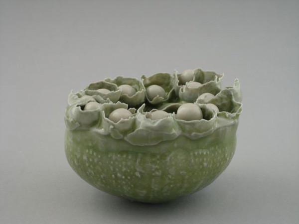 "Echinoderm Object, White/Green 3"" X 4"" X 4"" 2009"