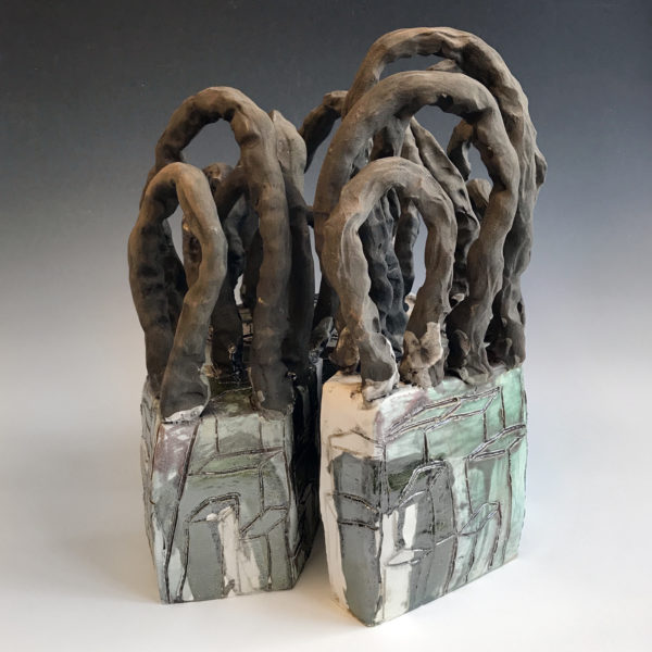 """Spanning Enclave Series #1 22'' x 17"""" x 17"""" Clay and Glaze 2017"""