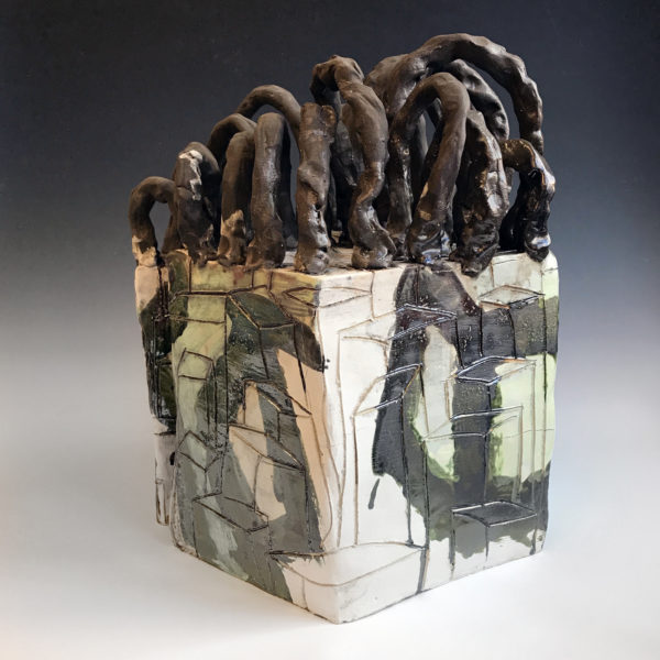 """Spanning Enclave Series #2 22'' x 17"""" x 17""""  Clay and Glaze  2017"""