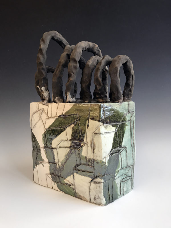 """Spanning Enclave Series #3  22'' x 17"""" x 17""""  Clay and Glaze  2017"""